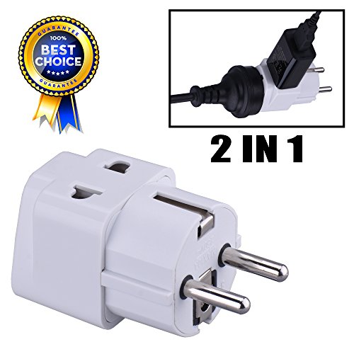 LURICO Grounded 2 in 1 Schuko Plug Adapter 1 Piece 2 Pin (Round) Wall Socket - Visitor Travel Adaptor Plug Convertor Type E/F for Germany, France, Europe, Russia & more (Plug Adaptor Spain compare prices)