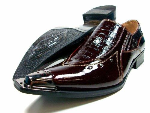 Mens Wine Red Designer Pointy Toe Metal Tip Dress Loafer Shoes W/ Studs Gator Texture