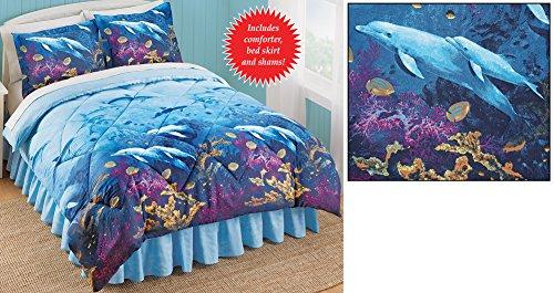 Seaside Dolphin Cove Comforter Set Blue Full