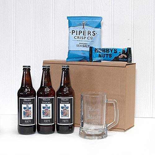 PERSONALISED 'Pub In A Box' - 3 x Bottles Yorkshire Ales with Personalised Labels, Engraved Glass Tankard & Mens Nibbles - ADD YOUR OWN FREE PERSONAL MESSAGE & NAME TO THE ALE LABEL & NAME ON GLASS TANKARD Gift ideas for - Fathers Day, Mothers Day,Valenti