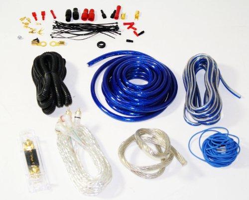 Audiotek 4 Gauge Heavy Duty Amplifier Installattion Pro Kit Cables 2000W Blue
