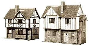 B28 Superquick Two Elizabethan Cottages - 1/72 OO/HO - Card Model Kit