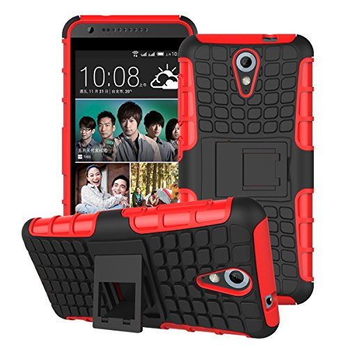 DEFENDER Hard Armor Hybrid Rubber Bumper Flip Stand Rugged Back Case Cover For HTC DESIRE 620G / 620 Dual Sim - Red