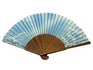 Japanese Design Silk Handheld Folding Fan, Sky Blue w/Fine Pink Flowers and Green Vines HF-228