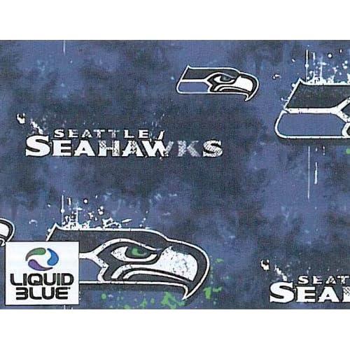 NFL Seattle Seahawks Liquid Football Print Fleece Fabric By the Yard