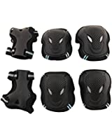 Tera Kit de protections 6 pièces/3 paires - protège-paume + coudière + genouillère (Noir et belu/Rouge et bleu) de skateboard, roller, patin à glace etc. pour enfant/adulte (S/M/L)