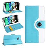 Magic Global Gadgets - Turquoise / Light Blue Retro Leather Flip Book Wallet Case Cover Pouch For HTC One M8 (2014 Version) With Media Stand For With Screen Guard / Cleaning Cloth / Mini Stylus