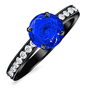 0.8 Carat 14K Black Gold Classic Side Stone Pave Set With Milgrain Diamond Engagement Ring with a 0.5 Carat Natural Blue Sapphire Center (Heirloom Quality)
