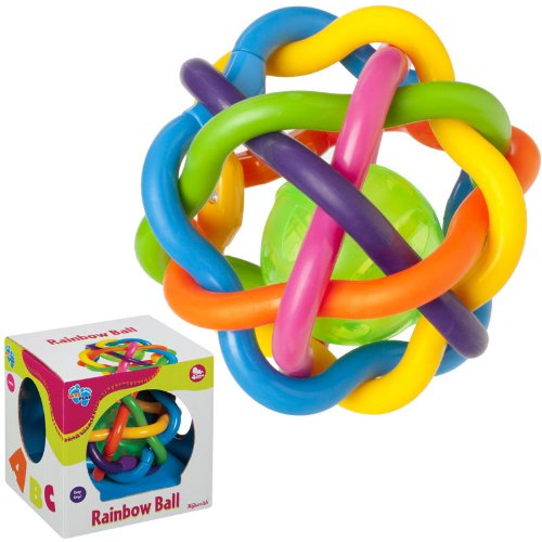 "Toysmith - Rainbow Ball, 5"" Ball with Rubbery Tubes and Rattle Ball Inside"