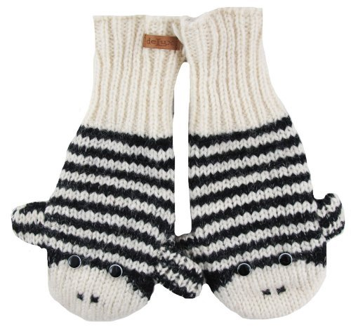 DeLux Cute Sock Monkey Wool Animal Mittens - More Colors! (Adult, Black/White Stripe)