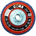 "CoreTemp 88460 Type 27 High Density Abrasive Flap Disc with Plastic Turbo Backing, Metal Threaded Hub, Zirconium, 4-1/2"" Diameter, 5/8""-11 Arbor, 60 Grit  (Pack of 5)"