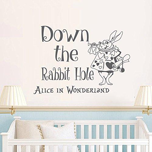 alice im wunderland mauer aufkleber applikator ist der hase loch wand spr che wei kaninchen. Black Bedroom Furniture Sets. Home Design Ideas