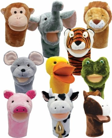 Get-Ready-Kids-Big-Mouth-Animal-Puppet-Set-of-10-Cow-Horse-Pig-Duck-Mouse-Frog-Tiger-Lion-Elephant-and-Monkey