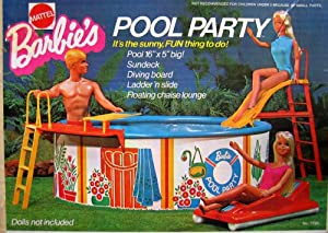 Barbie Pool Party Playset W Pool Sundeck Diving Board More 1973 Mattel