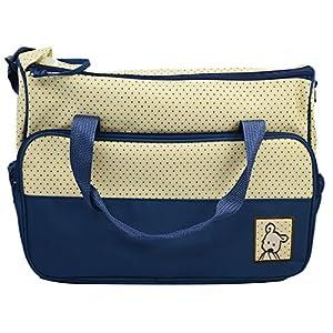 Conjunto de 5pcs práctico momia bebé pañal bolsa bebé cambiar alfombra multifuncional azul marino marca Gosear