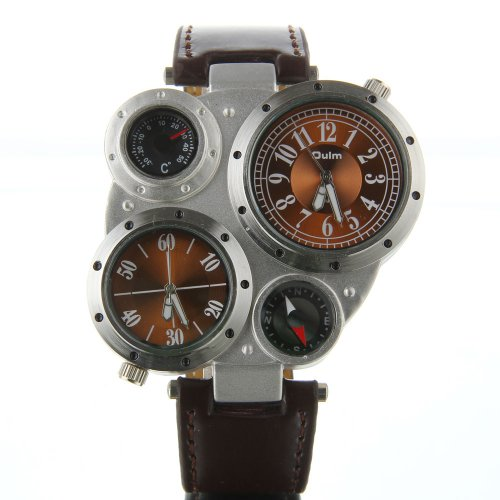 Masione Oulm Military Army Dual Time Zones Movements Watch Big Dial Leather Sports (Brown Dial)