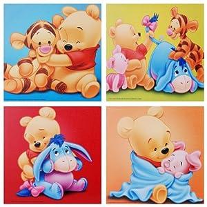 4 x disney wandbild auf leinwand von baby winnie the pooh tigger iaah und ferkel je 35 x 35. Black Bedroom Furniture Sets. Home Design Ideas