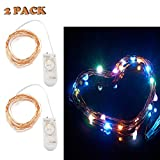 Accmor 2 Pack Led String Lights - CR2032 Battery Operated Lights Set - Bedroom - Christmas Indoor or Outdoor Decorations Ornaments - 7.87ft 20 Leds Waterproof Cooper Lights (Each Led in 7 Colors)