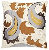 Safavieh Pillow Collection Classic Paisley 18-Inch Cream Embroidered Decorative Pillows, Set of 2