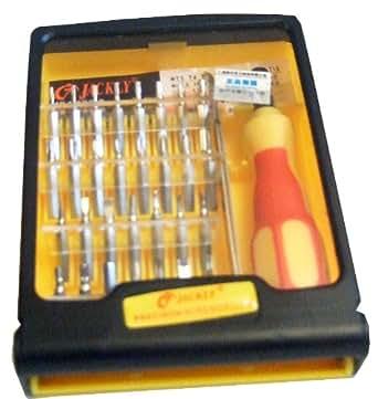PC-Kabelwelt Jeu de tournevis 32 en 1 - boîte de rangement en plastique - idéal pour les petits appareils électroniques - tournevis avec porte-embout magnétique - une pince - 30 bits (différents dièse, bémol, torx, étoiles)
