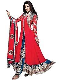 Alethia Red & Sky Blue Color Party Wear Embroidered Dhupian& Georgette Semi-Stitched Anarkali Suit-ALG681DL1009KR