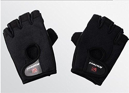 guanti di sport dei guanti di forma fisica degli uomini di attrezzature per l'allenamento manubrio della cuffia femminile antiscivolo palme mezze dita ( colore : Nero , dimensioni : L. )