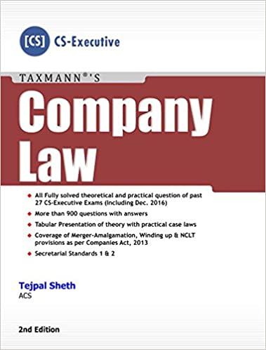 Company Law (CS-Executive) (2nd Edition, February 2017) Paperback – 2017 tejal