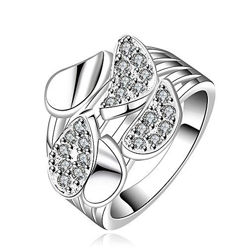 NYKKOLA New Fashion Jewelry-Ciondolo in argento Sterling 925, con cristalli, Diamond-Anello per matrimonio, argento, 58 (18.5), cod. TET5T6YHR115