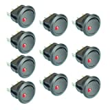 New 10PC Car Truck Rocker Toggle LED Switch Red Light On-Off Control