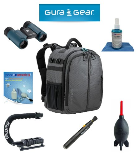 Gura Gear Bataflae 18L Backpack (Grey) For Canon Eos 1D X, 1D Mark Iii, 1D Mark Ii N, 1D Mark Ii, 1D + Foregrip + Nikon Lens Pen Cleaning System + Giotto'S Air Blower + Cleaning Kit + Lcd Screen Protectors + Olympus Waterproof Binoculars