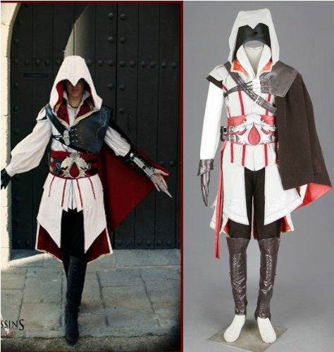 Assassin's Creed 2 II Ezio Cosplay Kostüm Halloween , Weiß Version,Größe M: (168-172cm,50-60 kg)