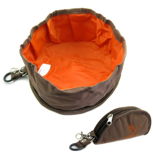 Alfie Pet By Petoga Couture - Fabric Expandable/Collapsible Travel Bowl (For Food And Water) - Color: Brown front-858024