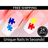 Puzzle Nail Stickers - Puzzle Nail Art (Mixed Colors) - Autism Awareness