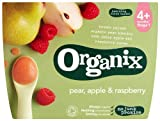 Organix Stage 1 From 4 Months Organic Fruit Pots Pear, Apple and Raspberry 4 x 100 g (Pack of 6, Total 24 Pots)