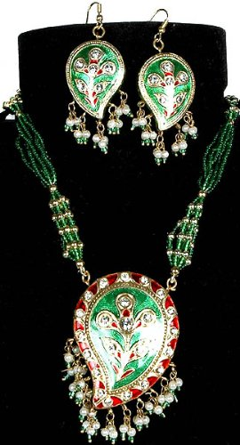 Paisley Green and Red Necklace and Matching Earrings - Lacquer with Cut Glass