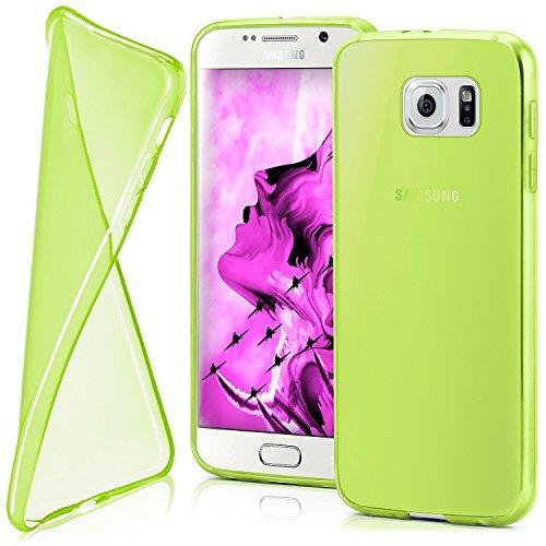 Cover di protezione Samsung Galaxy S6 Custodia Case silicone sottile 0,7mm TPU | Accessori Cover cellulare protezione | Custodia cellulare Paraurti Cover Traslucida Trasparente LIME-GREEN