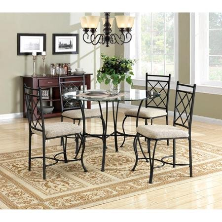 Traditional and Stylish Mainstays 5-Piece Round Glass Top Metal Dining Set with Microfiber Fabric Upholstered Chairs