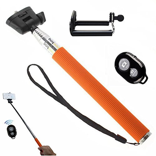 Amababa(TM)Extendable Waterproof Selfportrait Photo Selfie Handheld Stick Monopod + Adjustable Phone Holder Stand + WirelessBluetooth Remote Camera Shutter Release Control for iPhone Samsung Galaxy Blackberry HTC Sony Xperia and Camera (Orange)