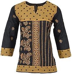 ALMAS Lucknow Chikan Women's Cotton Regular Fit Kurti (Black and Mustard)