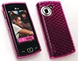 EMARTBUY LG GM360 VIEWTY SNAP LCD SCREEN PROTECTOR AND HEXAGON PATTERN GEL SKIN COVER/CASE HOT PINK