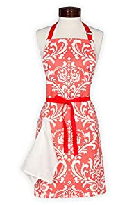 Lynne's Whim Scrolls USA-made Apron (Coral)