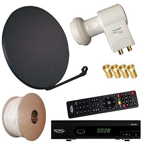 Digitale Sat Anlage 80 cm + HD RECEIVER + 30m Kabel + HD Twin LNB = HD Komplett Set (3 Farben wählbar)