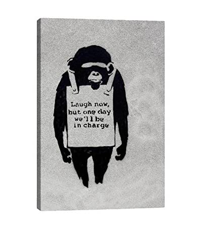 Banksy Laugh Now, Sandwich Board-Wearing Monkey Gallery Wrapped Canvas Print