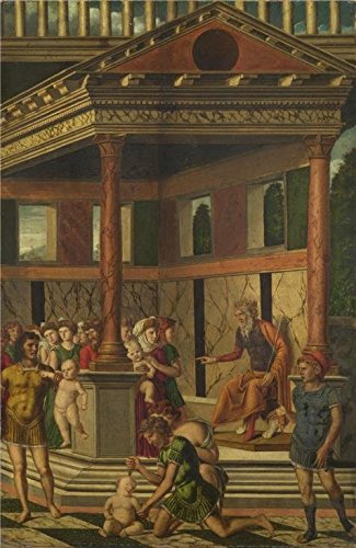 Perfect Effect Canvas ,the Reproductions Art Decorative Canvas Prints Of Oil Painting 'Gerolamo Mocetto - The Massacre Of The Innocents With Herod,about 1500-25', 16x25 Inch / 41x63 Cm Is Best For Gift For Girl Friend And Boy Friend And Home Decoration And Gifts
