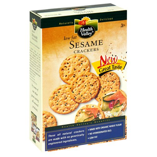 Health Valley Low-Fat Crackers, Sesame, 6-Ounce Boxes (Pack of 6)