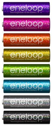 SANYO eneloop tones glitter 充電式ニッケル水素電池(単3形8色限定ラメ入りカラーパック)  HR-3UTGA-8SL