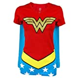 Juniors T-Shirt - Wonder Woman - V-Neck Costume Tee with Cape