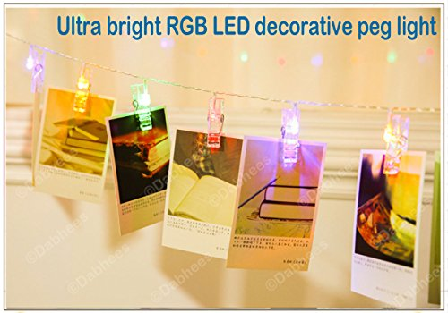 Dabhees LED Photo Clip String Lights, Perfect for Hanging Pictures, Notes,  Artwork, art display Bunting clips LED 4,5 Meter/15 Feet, RGB Colour  changing ...
