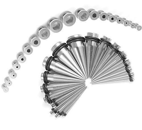 Taper Kit 36 Pieces Stainless Steel Screw Fit Plugs 14G-00G Taper Stretching Kit (Plug Set 14g 00g compare prices)