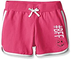 Dream Star Big Girls French Terry Dolphin Short with Screen and Contrast Piping, Bright Pink/White, Small/7/8